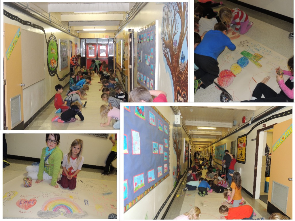 Gigantic Mural Decorating at Isabella Dicken Elementary School