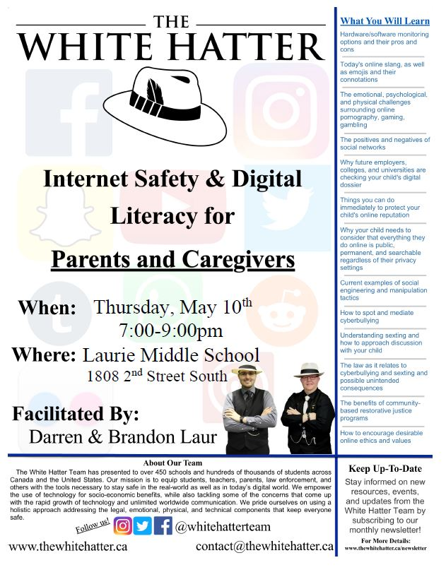 Social Media/Internet Safety Presentation featuring the White Hatter - Oct. 5