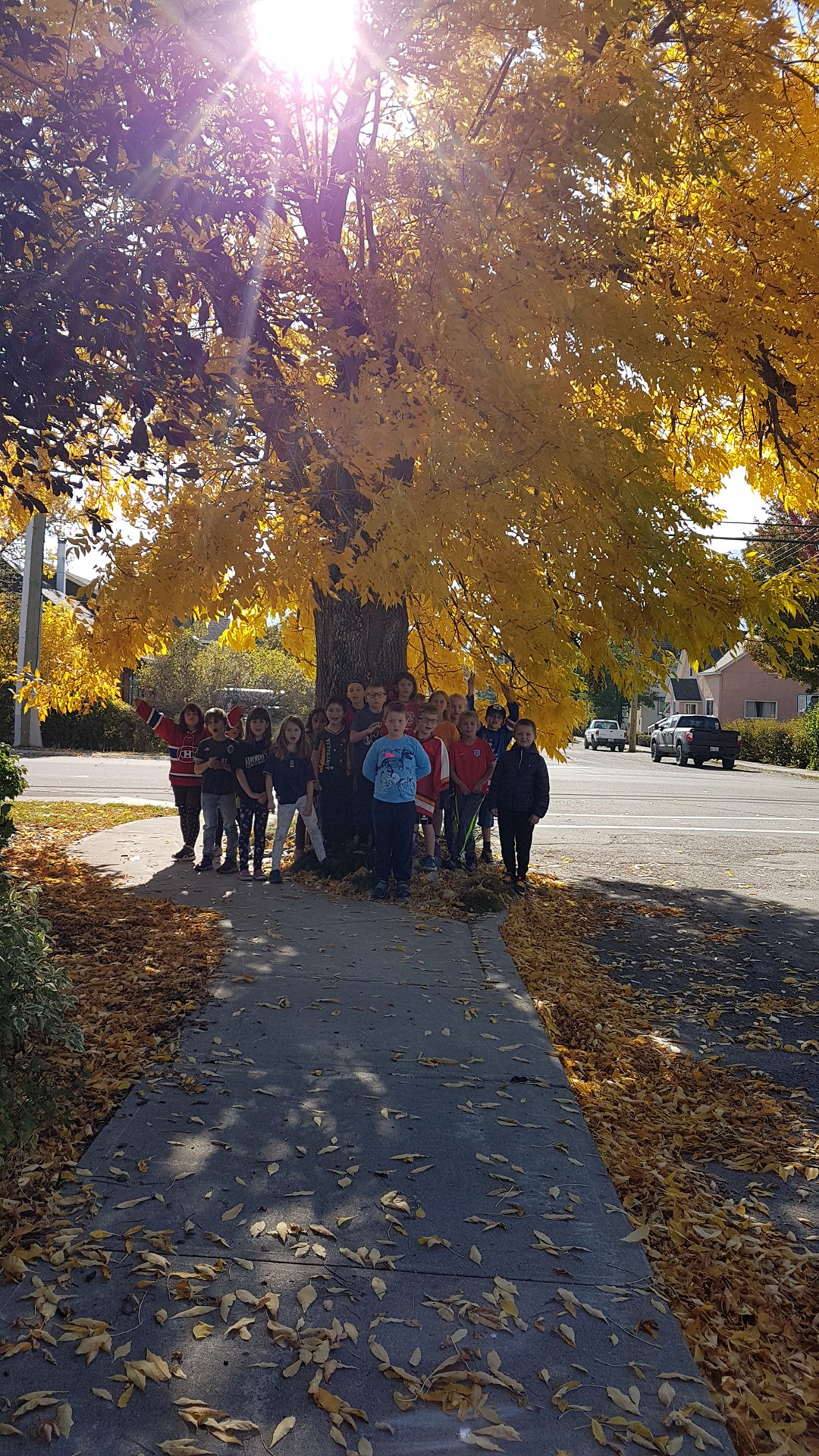 Isabella Dicken Elementary Grade 2 students enjoying the beautiful fall weather